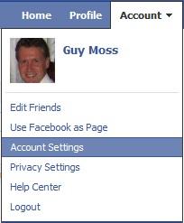backup Facebook - account settings